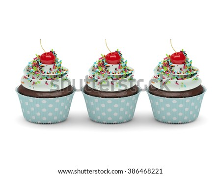 3d sweet cupcakes with sprinkles isolated on white background - stock photo