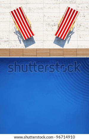 3d swimming pool with beach chairs - stock photo