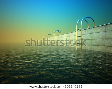 3d swimming pool with stair, background - stock photo