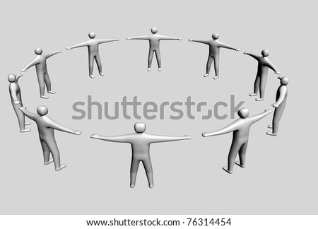 3d symbol of a team - this is 3d render illustration - stock photo