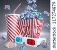 3D symbols falling in package, soda, 3D glasses and movie tickets, ready for the film. - stock photo