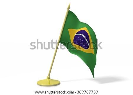 3D table flag of Brazil. - stock photo