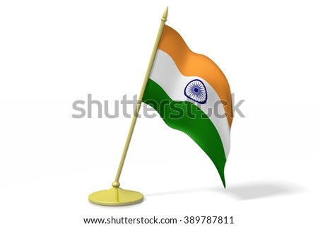 3D table flag of India. - stock photo