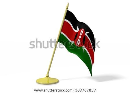 3D table flag of Kenya. - stock photo