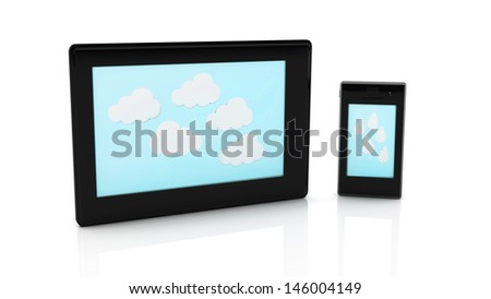 3d Tablet and mobile with white clouds on blue background