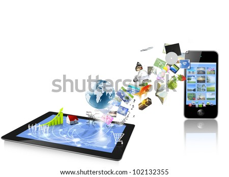 3d tablet computers and mobile phone isolated on white background - stock photo