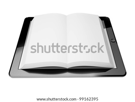 3d tablet pc screen, concept of ebook - stock photo