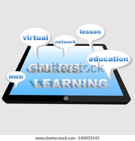 3d tablet with speech bubbles and words - online, learning, education, network, www, virtual, lesson - stock photo