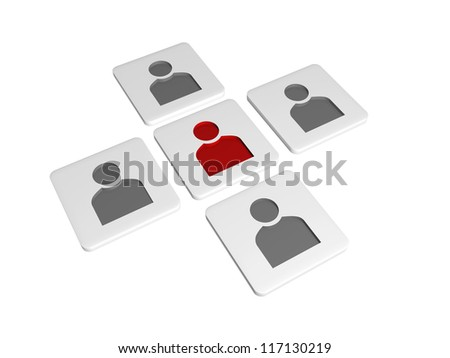 3d tablets with person signs with one red in the middle - stock photo