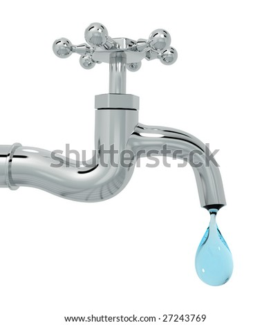 3d tap with drop of water isolated on white background - stock photo