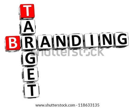 3D Target Branding Crossword on white background