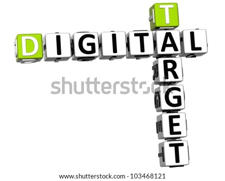 3D Target Digital Crossword on white background - stock photo