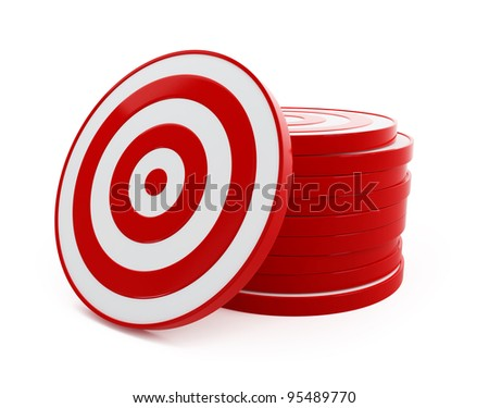 3d target red on a white background - stock photo