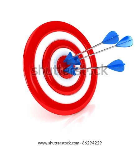 3d target with arrows over white background. Computer generated image