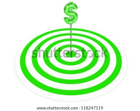 3d target with dollar sign. - stock photo