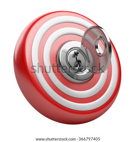 3d target with key in the keyhole. Success concept. Image isolated on a white background. - stock photo