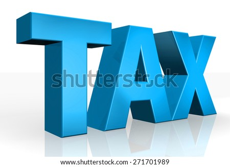3D Tax text on white background - stock photo