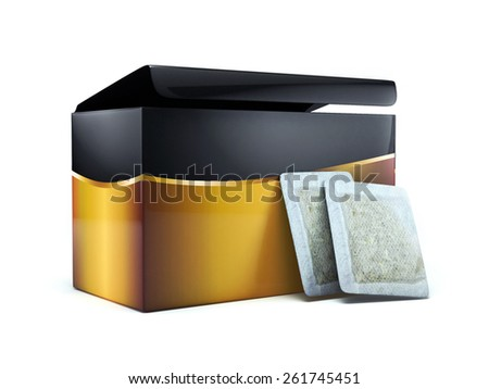 3d tea box and tea bags
