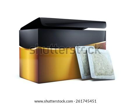 3d tea box and tea bags - stock photo