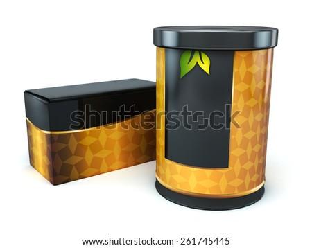 3d tea box and tea jar isolated - stock photo