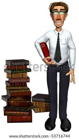 3d teacher teaching books - stock photo
