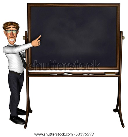 3d teacher teaching 2 cartoon - stock photo