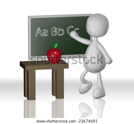3d teacher with chalk board and apple - stock photo