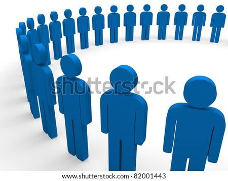 3d team circle blue community social teamwork - stock photo