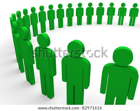 3d team circle green community social teamwork - stock photo