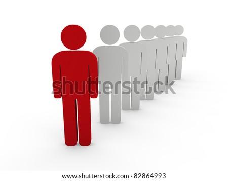 3d team leader boss company red teamwork - stock photo