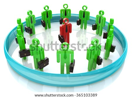 3d team leader boss company teamwork in the design of information related to business and people