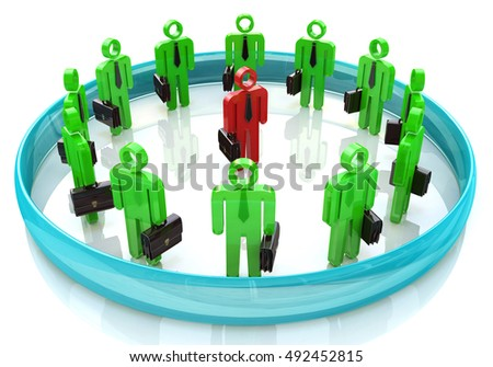 3d team leader boss company teamwork in the design of information related to business and people. 3d illustration