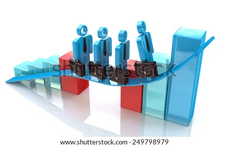 3d team of business people skips the crisis on a positive statistic  - stock photo