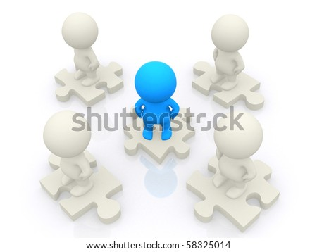 3D team standing on pieces of a puzzle isolated over a white backgound - stock photo