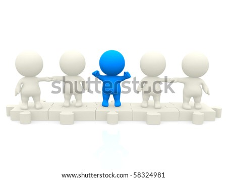 3D team standing together on pieces of a puzzle isolated over a white backgound