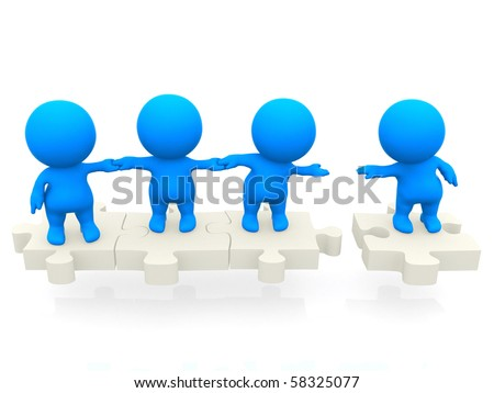 3D team standing together on pieces of a puzzle isolated over a white backgound - stock photo