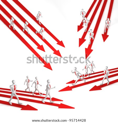 3d team with the leader moving on the arrows - stock photo