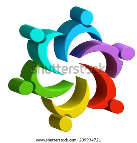 3D Teamwork colorful unity business people image design - stock photo