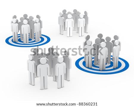 3d teamwork people group circle blue tarbet - stock photo