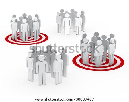 3d teamwork people group circle red tarbet - stock photo