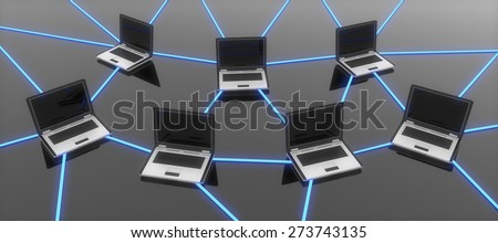 3D. Technology, Computer Network, Internet. - stock photo