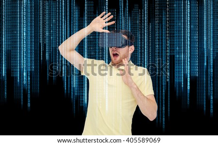 3d technology, virtual reality, entertainment and people concept - scared young man with virtual reality headset or 3d glasses playing game over binary code background - stock photo