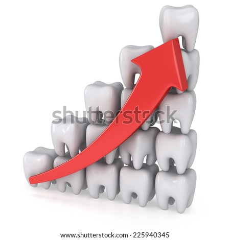 3d teeth bar graph with red arrow isolated on white background. Render. Dental medicine health grow chart business statistic concept. - stock photo