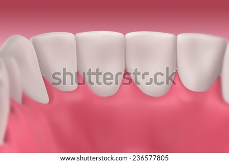 3D teeth or tooth inside view, closeup illustration - stock photo