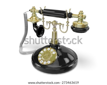 3D. Telephone, Old, Retro Revival. - stock photo