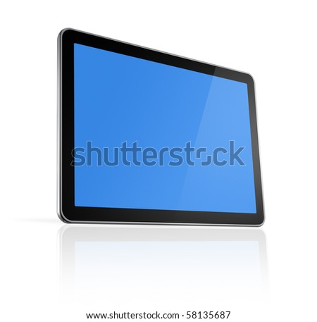 3D television, computer screen isolated on white - stock photo