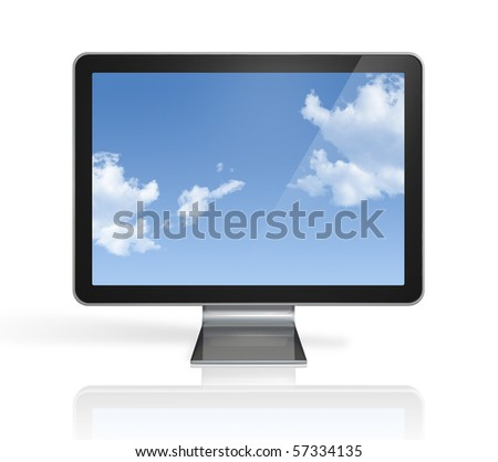 3D television, computer screen isolated on white with clipping path - stock photo