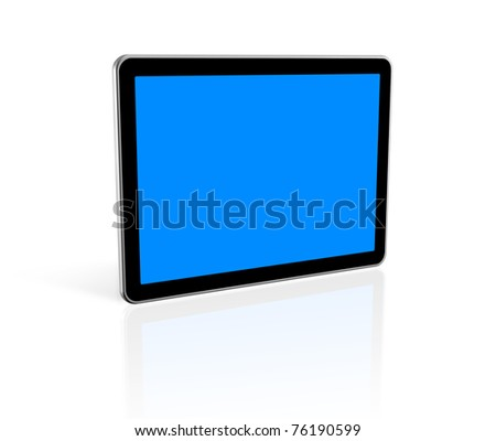 3D television, computer screen isolated on white.  With 2 clipping paths : global scene clipping path and screens clipping path to place your designs or pictures
