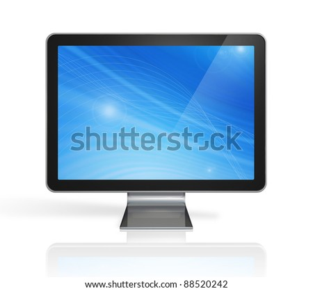3D television, computer screen isolated on white. With 2 clipping paths : global scene clipping path and screen clipping path - stock photo