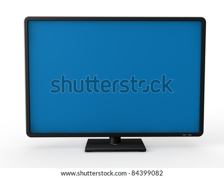 3d television lcd screen plasma black tv - stock photo
